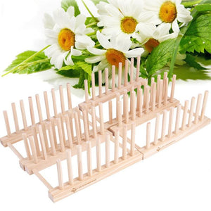 Durable Wood Plate Drain Rack Pot Lid Dish Bowl Cup Display Holder Book Storage Shelf Kitchen Organizer