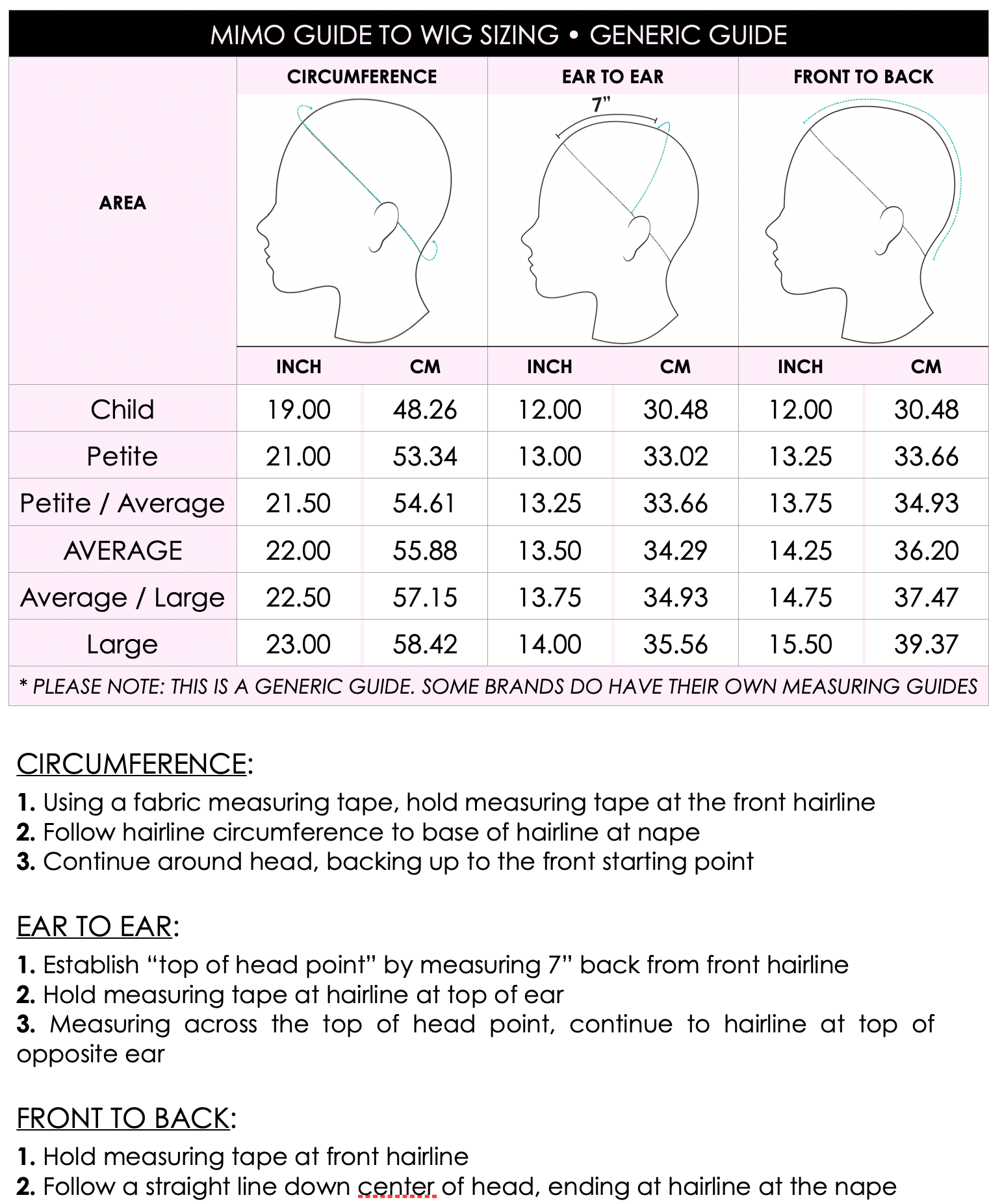 WIG MEASURING GUIDE • WIG SIZE GUIDE