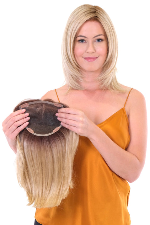 "Premium 100% Handmade Topper Straight 14"" • Café Collection Toppers •  MIMO WIGS • Toppers Experts & Medical Hair Loss Experts."