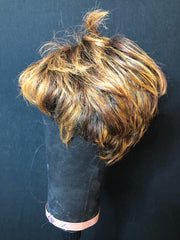 Short brown and caramel highlighted pixie (Preloved)