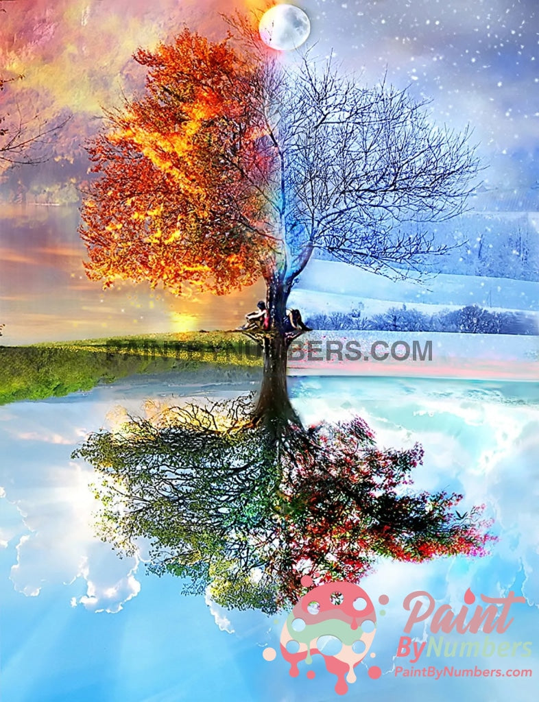 4 Seasons Tree Paint By Numbers Kit For Adults