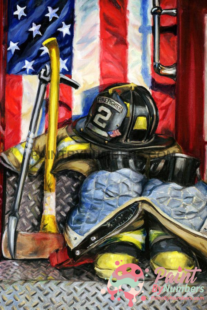 Firefighter Artwork Paint By Numbers Kit No Frame / 40X50Cm