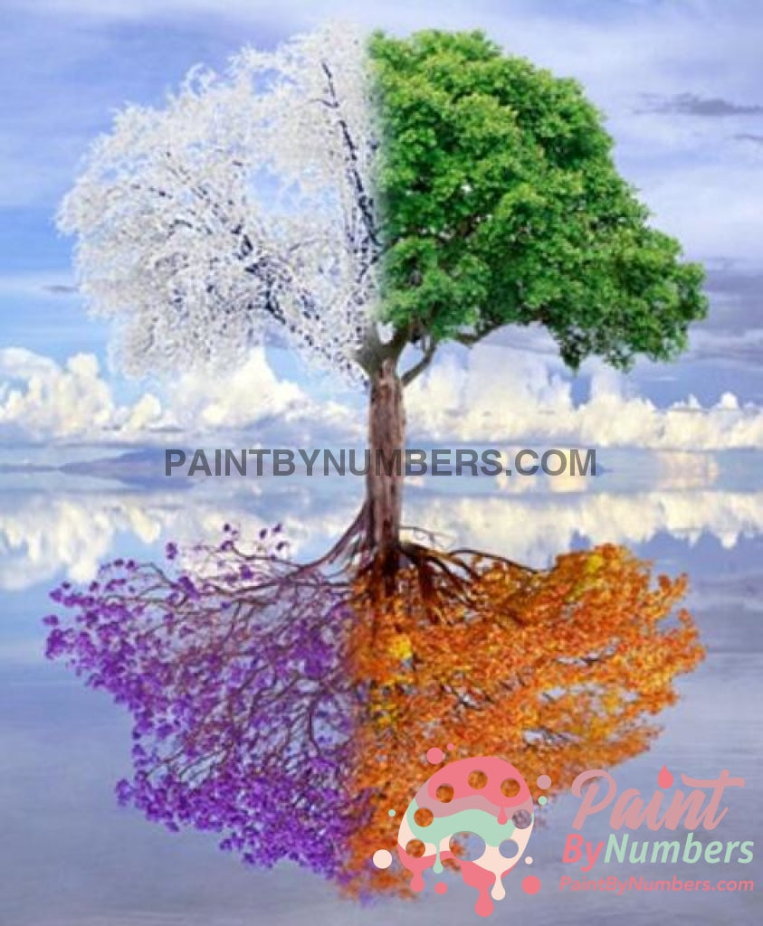 Free Paint By Numbers Kit 4 Seasons Tree / 30X40Cm No Frame