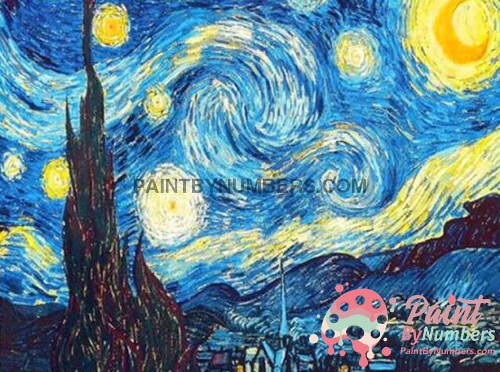 Free Paint By Numbers Kit Starry Night / 30X40Cm No Frame