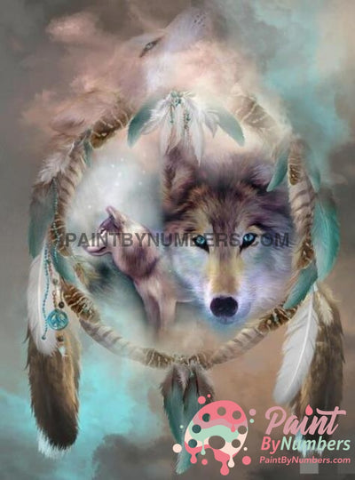 Free Paint By Numbers Kit Wolf Dream Catcher / 30X40Cm No Frame