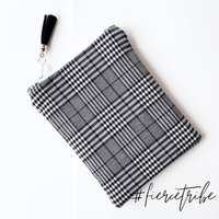 Mini Essential Oil Pouch - Black Check with tassel