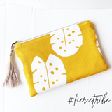 Clutch Purse - Mustard Leaf Print