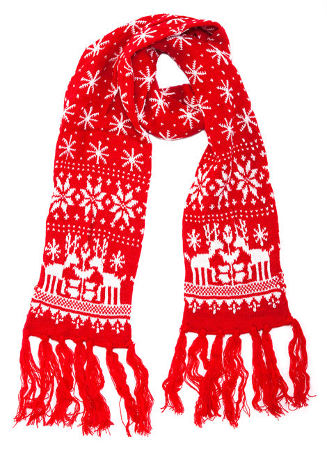 Red Snowflake Christmas Scarf