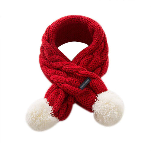 Kids Cable Knit Pom Pom Snood Scarf