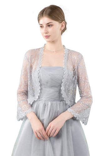 Silver Grey Lace Open Cardigan