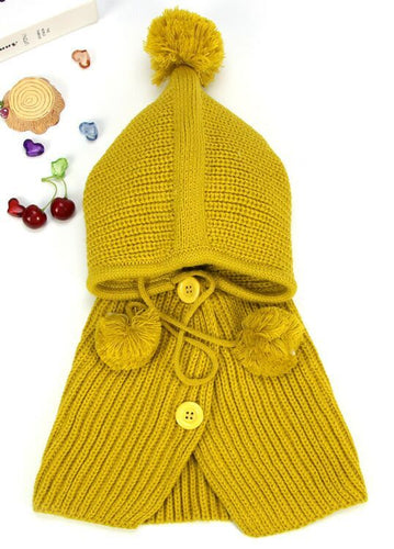 Baby Girls Children's Kids Hooded Poncho Hat Scarf & Snood 3-in-1
