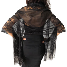 Load image into Gallery viewer, Black Tulle Wedding Wrap Shawl Lace Pashmina Scarf