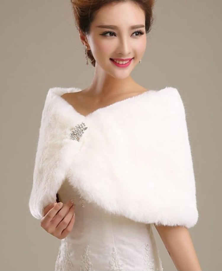 White Faux Fur Shawl With Brooch