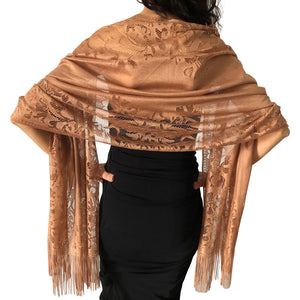 Brown Tulle Wedding Wrap Shawl Lace Pashmina Scarf