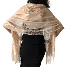 Load image into Gallery viewer, Champagne Tulle Wedding Wrap Shawl Lace Pashmina Scarf