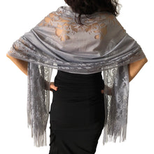 Load image into Gallery viewer, Grey Tulle Wedding Wrap Shawl Lace Pashmina Scarf