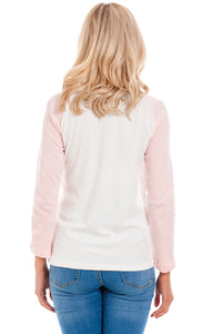 Pink Baseball Maternity & Breastfeeding Top