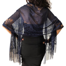 Load image into Gallery viewer, Navy Tulle Wedding Wrap Shawl Lace Pashmina Scarf