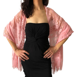Pink Tulle Wedding Wrap Shawl Lace Pashmina Scarf