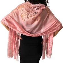 Load image into Gallery viewer, Pink Tulle Wedding Wrap Shawl Lace Pashmina Scarf