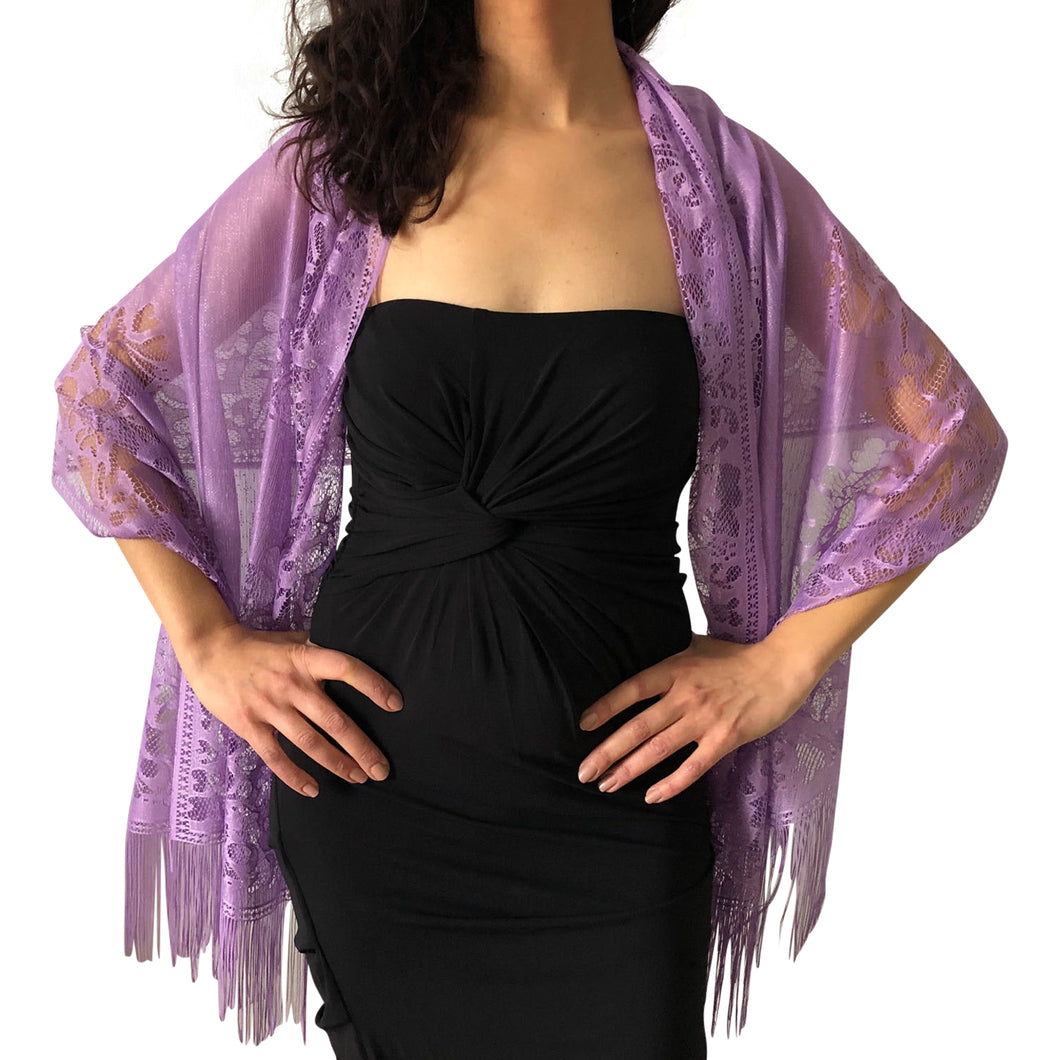Purple Tulle Wedding Wrap Shawl Lace Pashmina Scarf