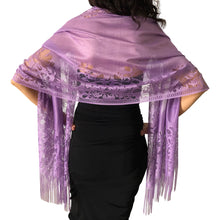 Load image into Gallery viewer, Purple Tulle Wedding Wrap Shawl Lace Pashmina Scarf