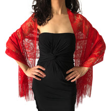 Load image into Gallery viewer, Red Tulle Wedding Wrap Shawl Lace Pashmina Scarf