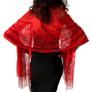 Red Tulle Wedding Wrap Shawl Lace Pashmina Scarf