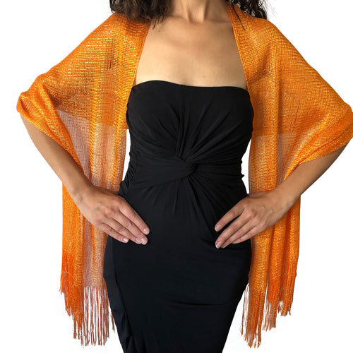 Orange Shimmer Shawl