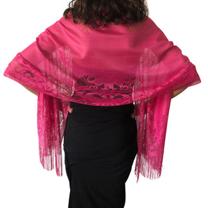 Hot Pink Tulle Wedding Wrap Shawl Lace Pashmina Scarf