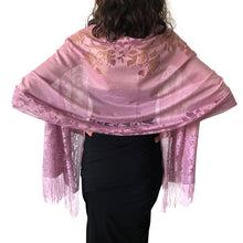 Load image into Gallery viewer, Lavender Tulle Wedding Wrap Shawl Lace Pashmina Scarf