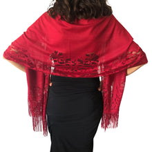 Load image into Gallery viewer, Ruby Red Tulle Wedding Wrap Shawl Lace Pashmina Scarf