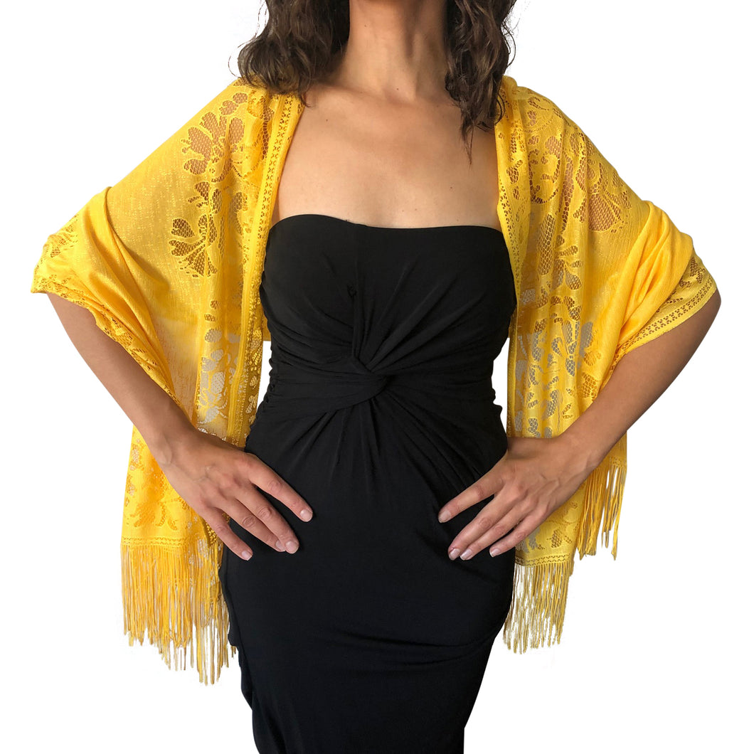 Yellow Tulle Wedding Wrap Shawl Lace Pashmina Scarf