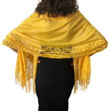 Load image into Gallery viewer, Yellow Tulle Wedding Wrap Shawl Lace Pashmina Scarf