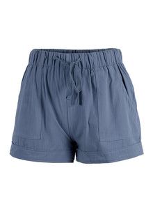 Womens Linen Feel Blue Shorts