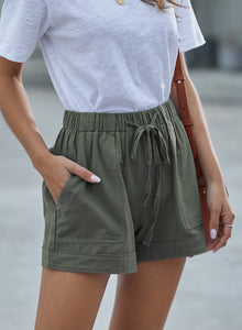 Womens Linen Feel Green Shorts