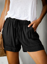 Load image into Gallery viewer, Womens Linen Feel Black Shorts