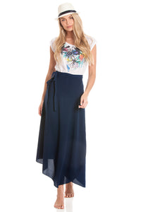 2-in-1 Sarong Skirt & Dress - Navy