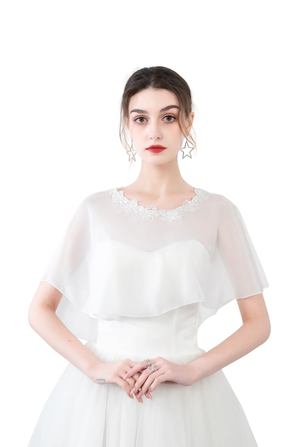 White Chiffon Cape With Lace Trim