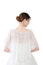 Load image into Gallery viewer, White Chiffon Cape With Lace Trim