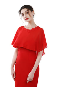 Scarlet Red Chiffon Cape With Lace Trim