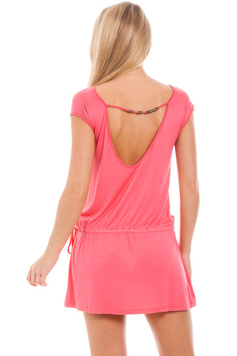 Pink Beaded Back Dress S-M