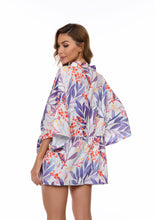 Load image into Gallery viewer, Blue Leaf Print Kimono