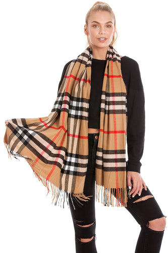 Large Tartan Checked Scarf