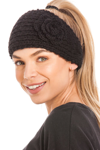 Knitted Ear Warmer Headband With Flower & Button