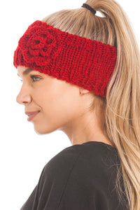 Women's Knitted Ear Warmer Headband With Flower