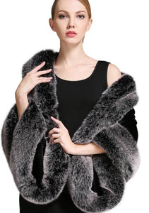 Black & Grey Faux Fur Shawl
