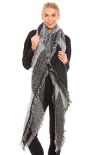 Load image into Gallery viewer, Large Grey Tartan Scarf Shawl