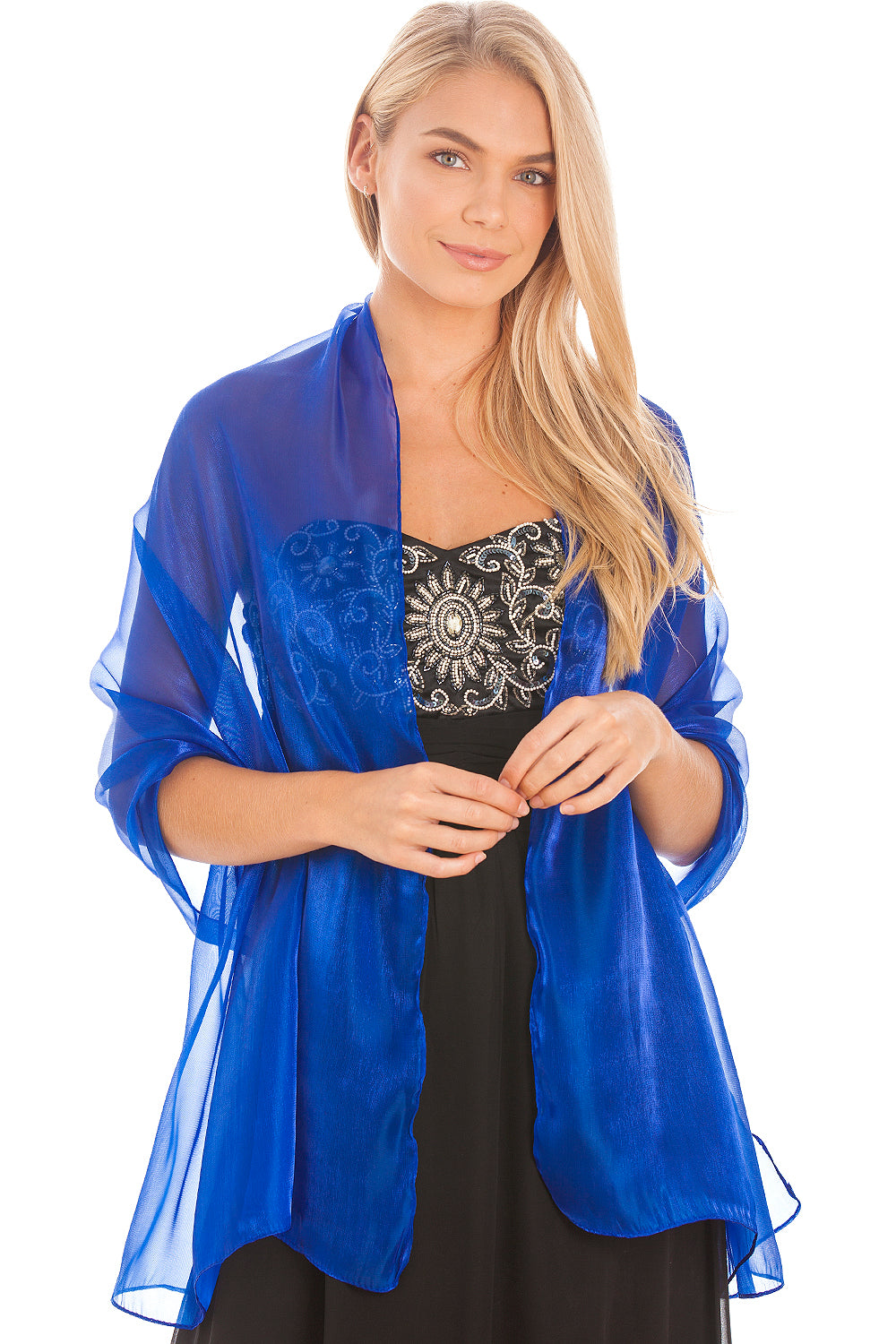 Cobalt Blue Silky Wedding Wrap