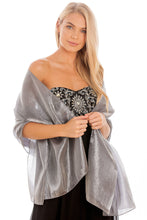 Load image into Gallery viewer, Silver Grey Silky Wedding Wrap